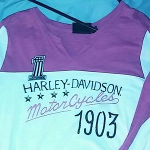 Long sleeve pink and white Harley Davidson Tee
